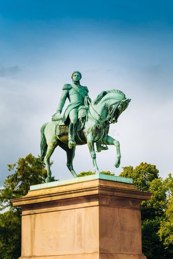 Statue of Norwegian King Karl Johan XIV in Oslo, Norway royalty free stock image