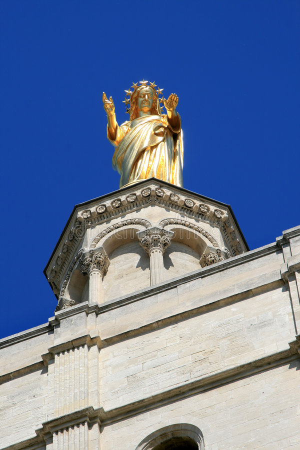 Free Statue Of Virgin Mary Upon Avignon Cathedral Royalty Free Stock Photo - 8295765
