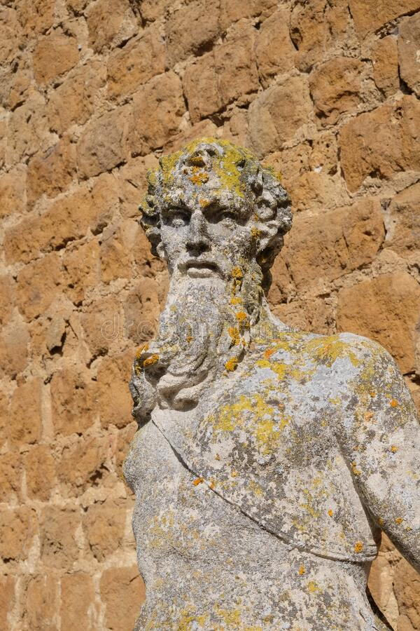 Statue of an old man from Tuscany. Outdoor statue of an old man from Tuscany. The moss covers the stone skin of the old man. The man has long beard. The man is stock images