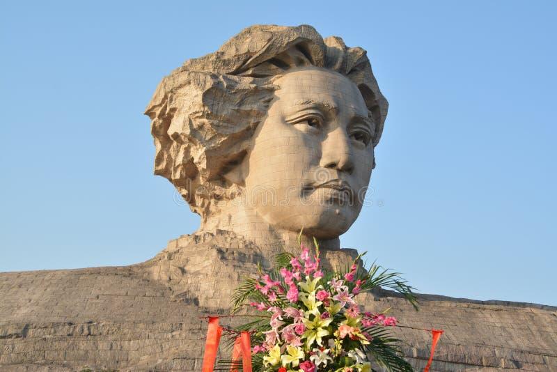Statue orange de Mao Zedong de la jeunesse d'île de Tchang-cha photos libres de droits
