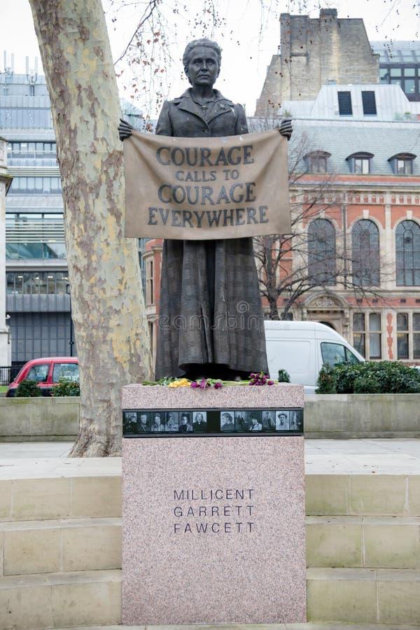 Statue in Parliament Square London of Millicent Garrett Fawcett. London, United Kingdom, 31st January 2019:- Statue of Millicent Garrett Fawcett located in royalty free stock photo