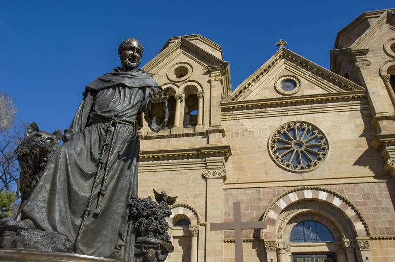 A statue of the patron saint for which the St. Francis of Assisi Cathedral in Santa Fe, NM was named royalty free stock photos