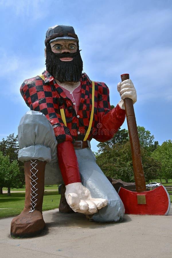 Statue of Paul Bunyan. AKELEY, MINNESOTA, June 14, 2018: The statue of Paul Bunyan is found in Akeley, MN at the Memorial Park managed bu the local Chamber of stock images