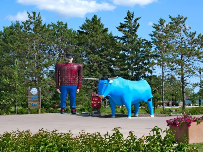Statue of Paul Bunyan, Legendary Lumberjack - Bemidji MN. Statue of Paul Bunyan and Babe the Blue Ox, Legendary Lumberjack - famous landmark - Bemidji MN stock photography