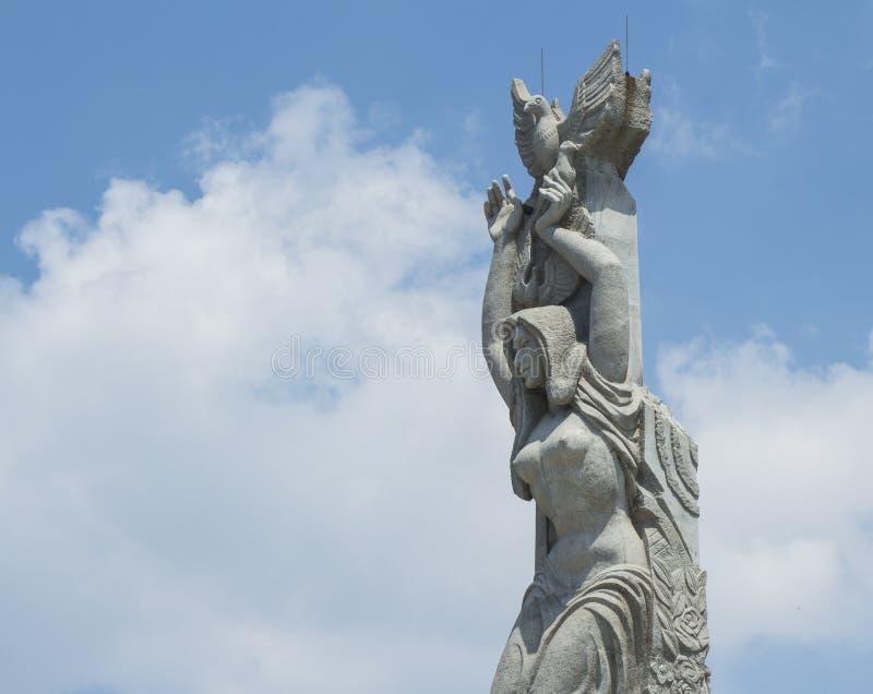 The statue of peace. China's jilin province changchun sculpture park landmark sculpture - spring, peace, friendship, statue of liberty. Changchun sculpture park stock image