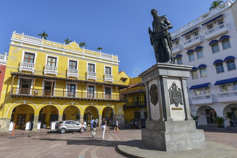 Statue of Pedro Heredia in Cartagena, Colombia. stock image