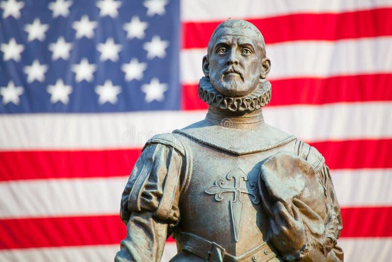 Statue of Pedro Menendez de Aviles, founder of St. Augustine, Florida stock images