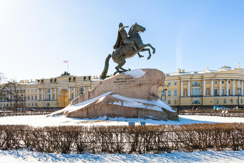Statue of Peter the Great in the Senate Square. Bronze Horseman statue of Peter the Great in the Senate Square in Saint Petersburg. The monument was built in royalty free stock photo