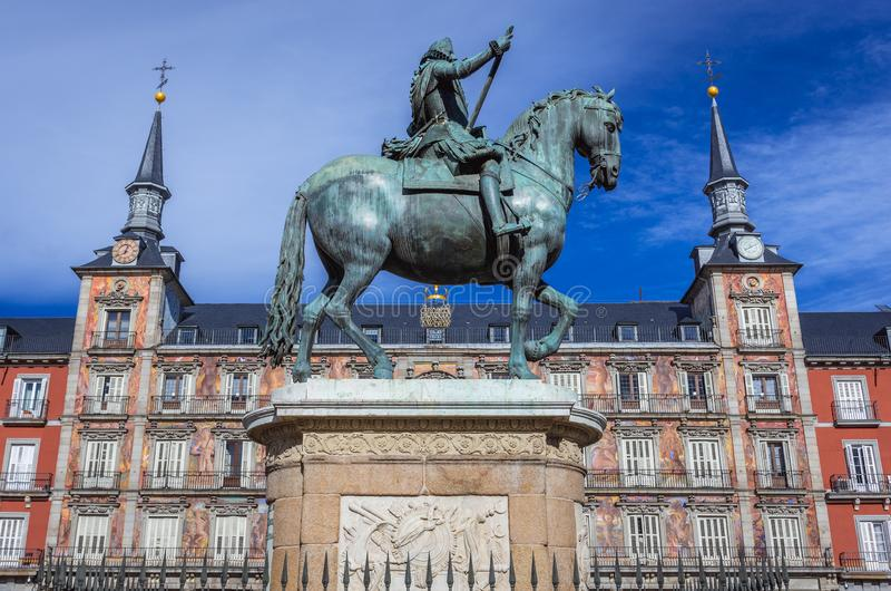 Statue Philip III in Madrid lizenzfreie stockbilder