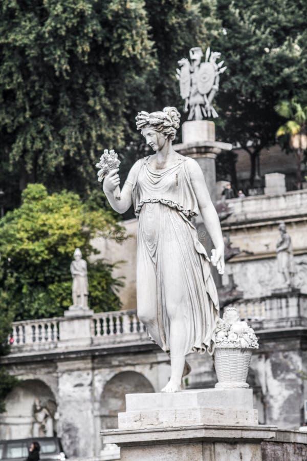 Statue in Piazza del Popolo in Rome, sculpted by Giovanni Ceccarini, 1822. 1824 stock photo