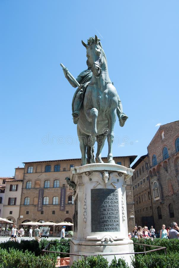 The statue of Piazza della Signoria Florence in Tuscany. Man on horseback, bronze sculpture. Equestrian statue of Duke of Florence royalty free stock photography