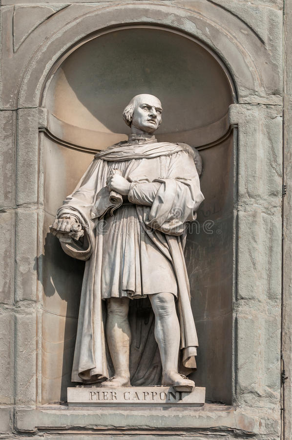 Statue of Pier Capponi in Uffizi Alley in Florence, Italy. Statue of Pier Capponi in Uffizi gallery, seen in Lungarno degli Archibusieri street. Florence, Italy royalty free stock photography