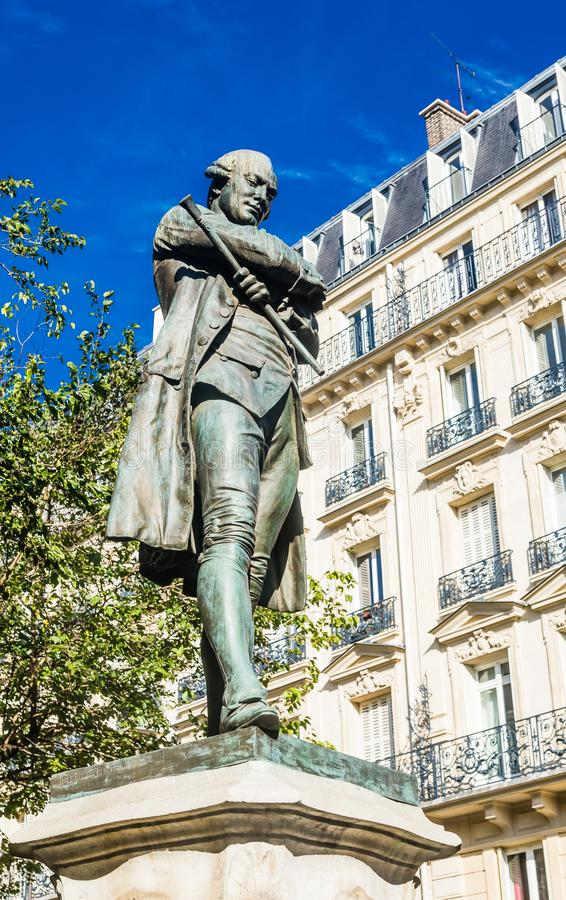 Statue of Pierre-Augustin Caron de Beaumarchais by Louis Clausade 1895, in the 4th arrondissement of Paris. France stock photography