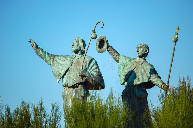 Statue of Pilgrims - Santiago de Compostela. Statue of Pilgrims in the outskirts of Santiago de Compostela in Galicia, Spain royalty free stock photography
