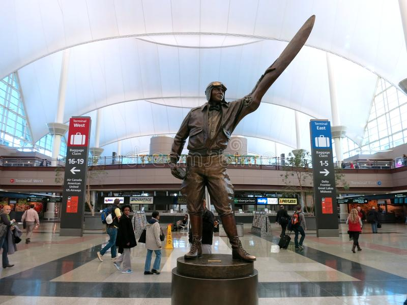 Statue of a Pilot in Denver International Airport Lobby stock photos