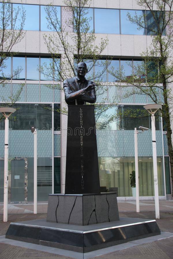 Statue of Pim Fortuyn in Rotterdam, the Netherlands, politician murdered in 2002 royalty free stock images