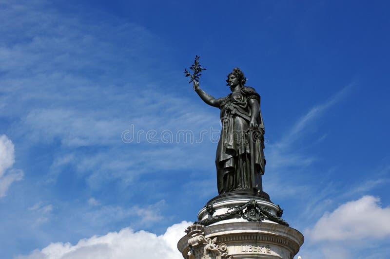 Statue in the place de la République square stock images