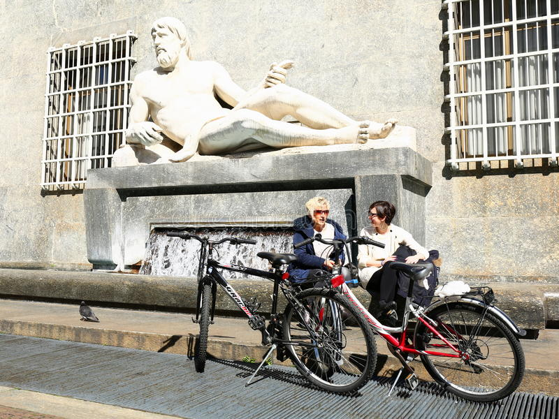 Statue of Po, Turin, Italy. Symbolic representation of River Po as a handsome man royalty free stock photos