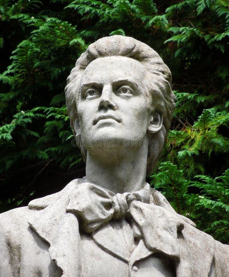 Statue of the poet Eminescu stock photos