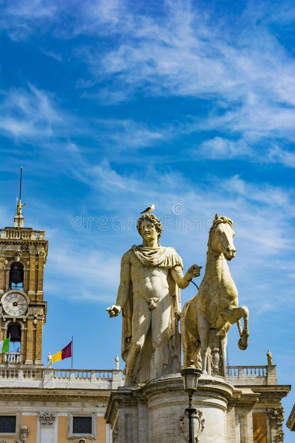 Statue of Pollux with his horse at Piazza del Campidoglio on Capitoline Hill, Rome, Italy royalty free stock photos