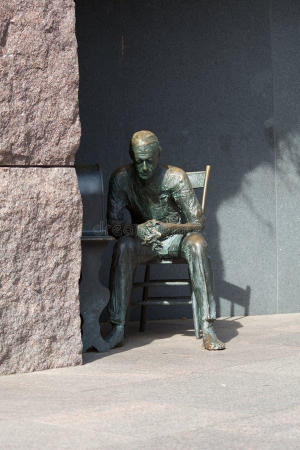 Statue Of Poor Man Listening To Radio Stock Photo