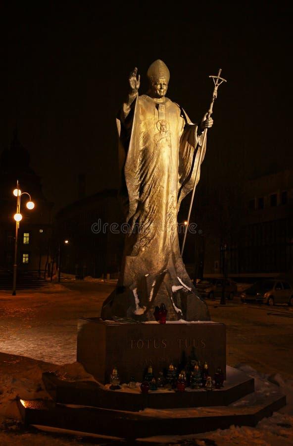 Statue of Pope John Paul II in Katowice. Statue of Pope John Paul II near Cathedral of Christ the King in Katowice, Poland royalty free stock photo