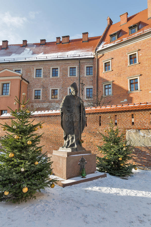 Statue of Pope John Paul II. Wawel, Krakow, Poland. royalty free stock photos
