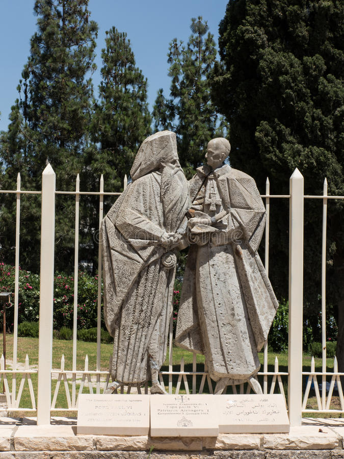 Statue of Pope Paul VI and Patriarch Atenogoras I that is next t. O the Basilica of the Annunciation in Nazareth, Israel royalty free stock photo