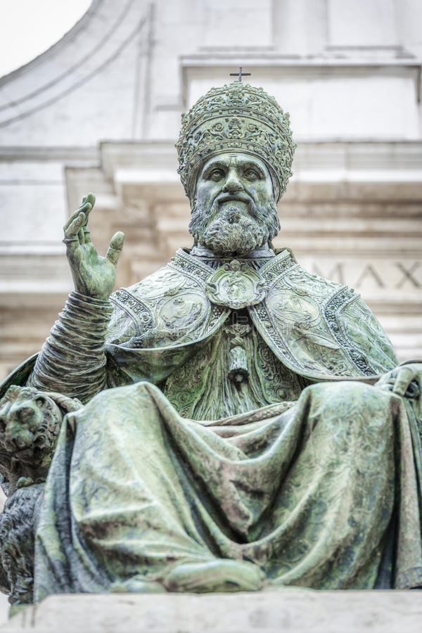 Statue of Pope Sixtus V in front of the Basilica della Santa Casa. An image of a statue of Pope Sixtus V in front of the Basilica della Santa Casa in Italy royalty free stock photography
