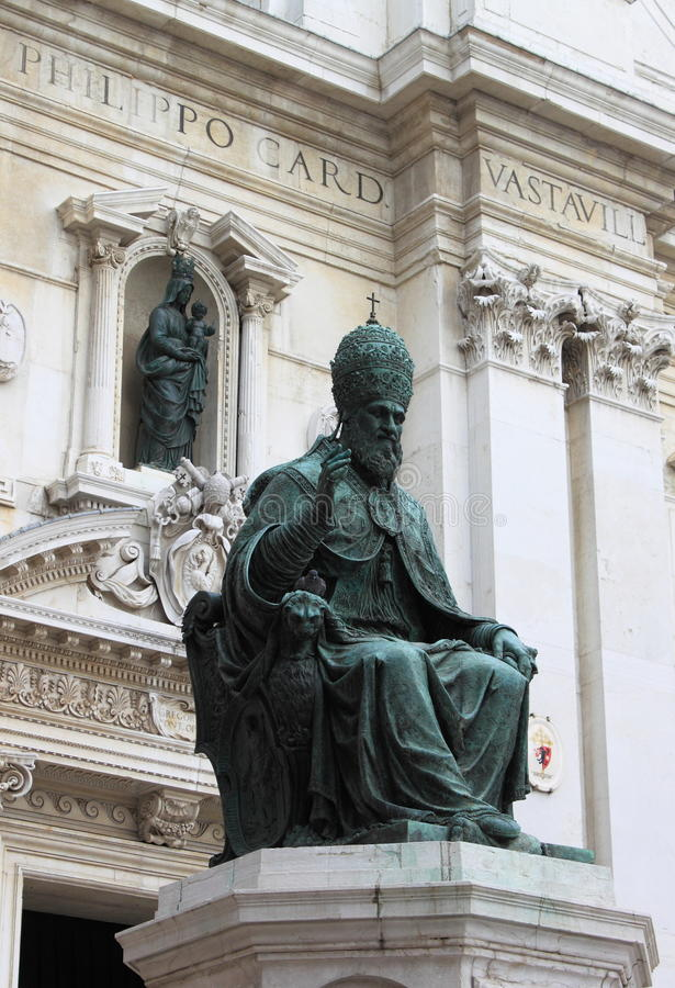 Statue of Pope Sixtus V in Loreto royalty free stock photo