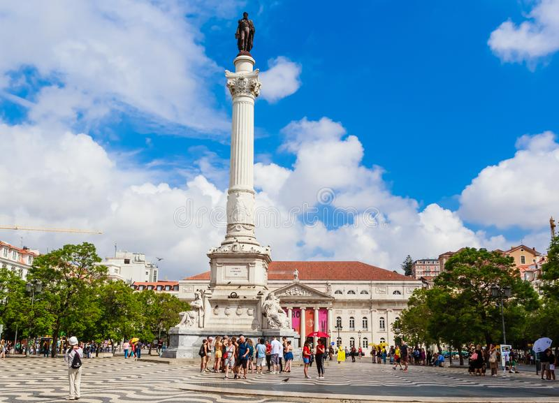 View of Statue of Portugal`s King Dom Pedro IV, Dona Maria II national theatre, Rossio Square, Baixa district, Lisbon, Portugal. Statue of Portugal`s King Dom royalty free stock image