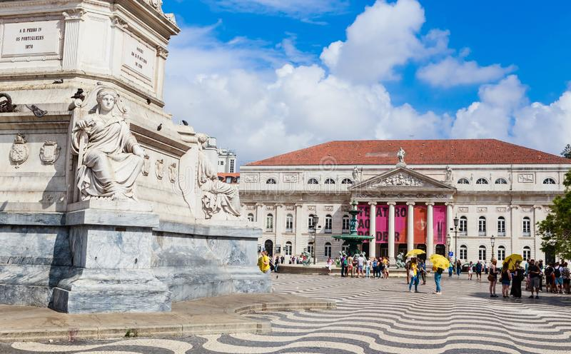 View of Statue of Portugal`s King Dom Pedro IV, Dona Maria II national theatre, Rossio Square, Baixa district, Lisbon, Portugal. Statue of Portugal`s King Dom stock image