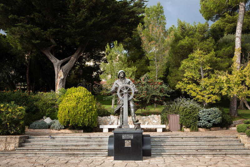 Statue of Prince Albert I in St Martin Gardens, Monaco-Ville stock images