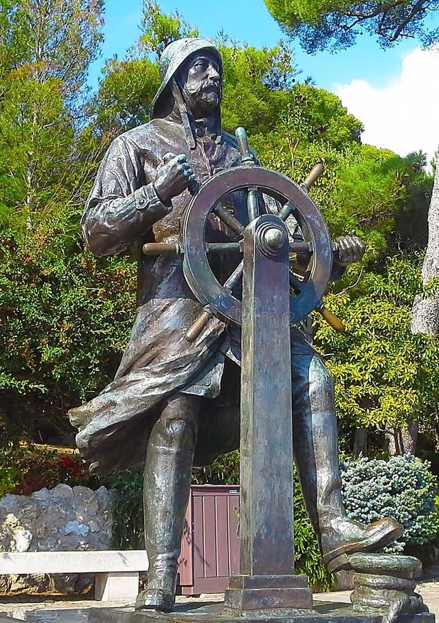 Statue of Prince Albert 1st in Saint Martin Park in Monte Carlo, Monaco, Cote d`Azur royalty free stock photo
