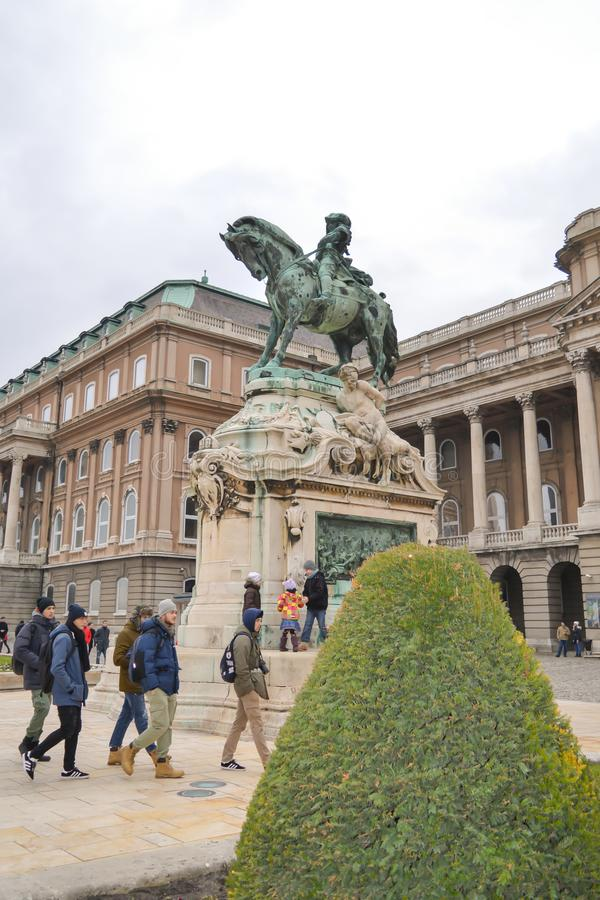 Statue of Prince Eugene of Savoy on Buda Castle in Budapest on December 30, 2017. BUDAPEST, HUNGARY - DECEMBER 30, 2017: Statue of Prince Eugene of Savoy on royalty free stock images