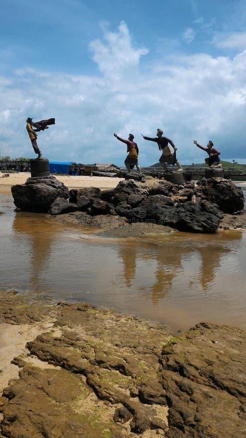 A statue of the princess mandalika beach seger, lombok island, indonesia stock image
