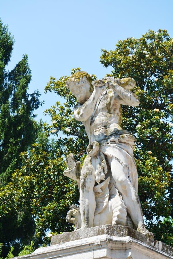Statue, public villa Belvedere. Statue in stone of the Belvedere villa in Mirano, in Veneto, Italy royalty free stock images