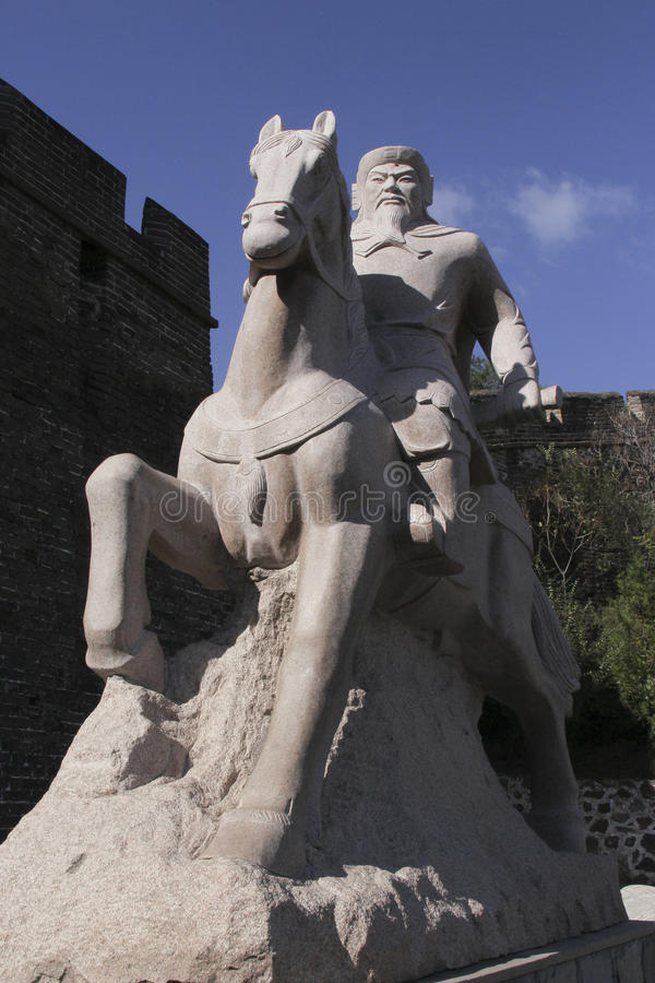 Statue of Qi Jiguang, Chinese general of the Ming Dynasty, at Jinshanling section of the Great Wall. stock photos