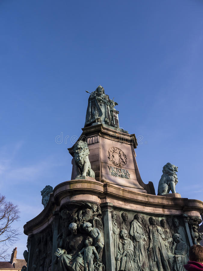 Statue of Queen Victoria in Lancaster England standing above politicians, artists and writers. Long existing as a commercial, cultural and educational centre stock image