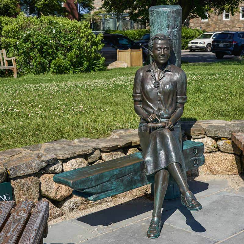 Statue of Rachel Carson author of Silent Spring. Woods Hole, MA - June 14 2019: This statue of Rachel Carson author of Silent Spring sits at Waterfront Park royalty free stock photos