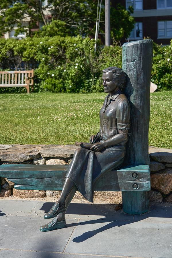 Statue of Rachel Carson author of Silent Spring. Woods Hole, MA - June 14 2019: This statue of Rachel Carson author of Silent Spring sits at Waterfront Park stock images