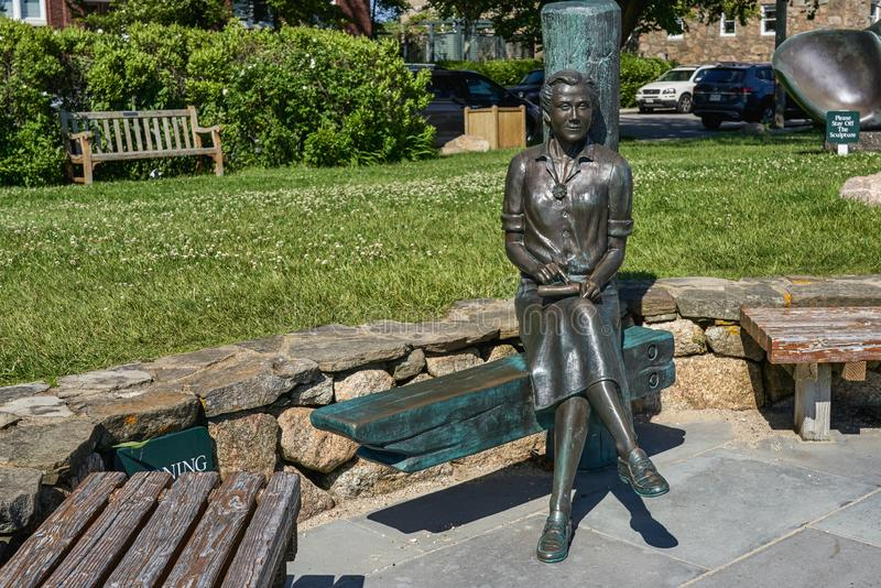 Statue of Rachel Carson author of Silent Spring. Woods Hole, MA - June 14 2019: This statue of Rachel Carson author of Silent Spring sits at Waterfront Park royalty free stock photography
