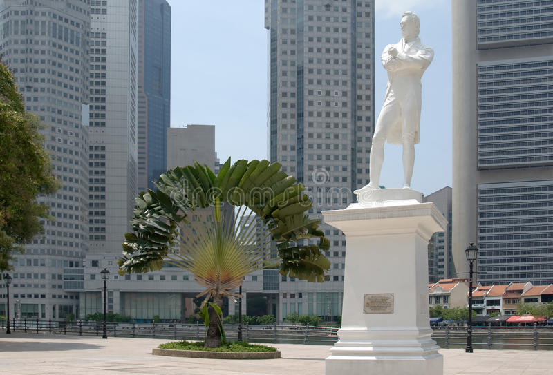 Statue of Raffles at historical site in Singapore stock photos