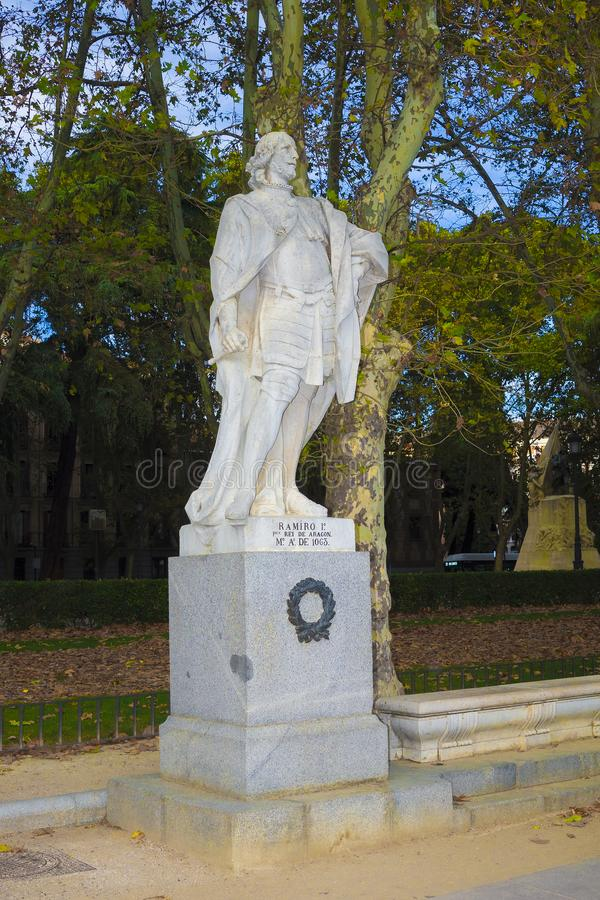 Statue of Ramiro I de Asturias, Madrid Spain royalty free stock images