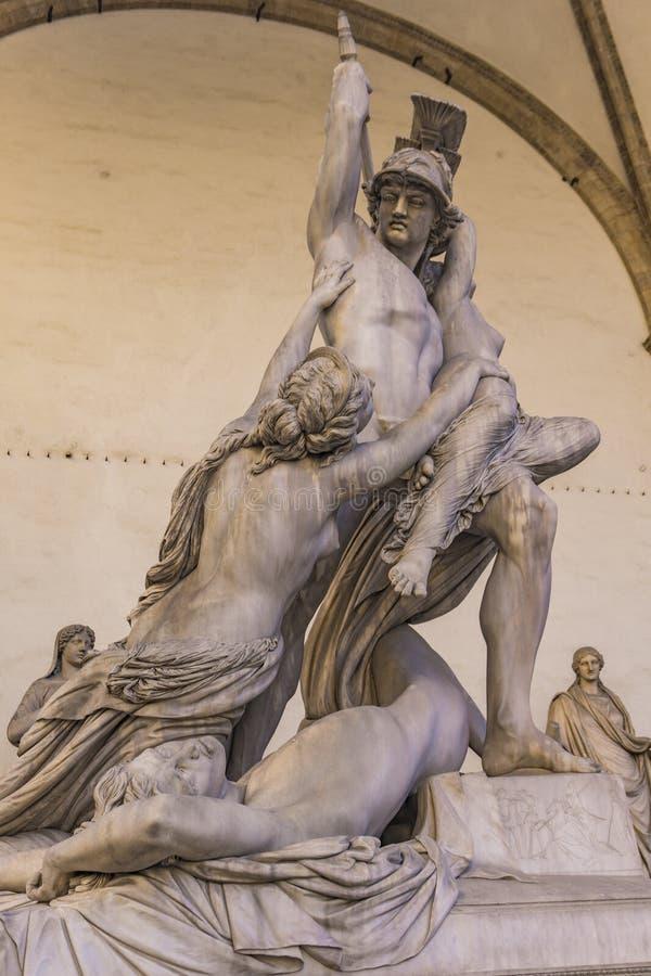 Statue Rape of Polyxena in Loggia dei Lanzi in Florence. Statue Rape of Polyxena made by Pio Fedi in 1865 in Loggia dei Lanzi in Florence, Italy stock images