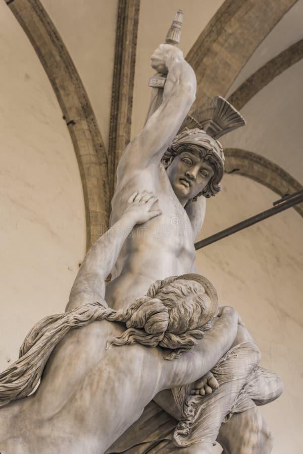 Statue Rape of Polyxena in Loggia dei Lanzi in Florence. Statue Rape of Polyxena made by Pio Fedi in 1865 in Loggia dei Lanzi in Florence, Italy royalty free stock images