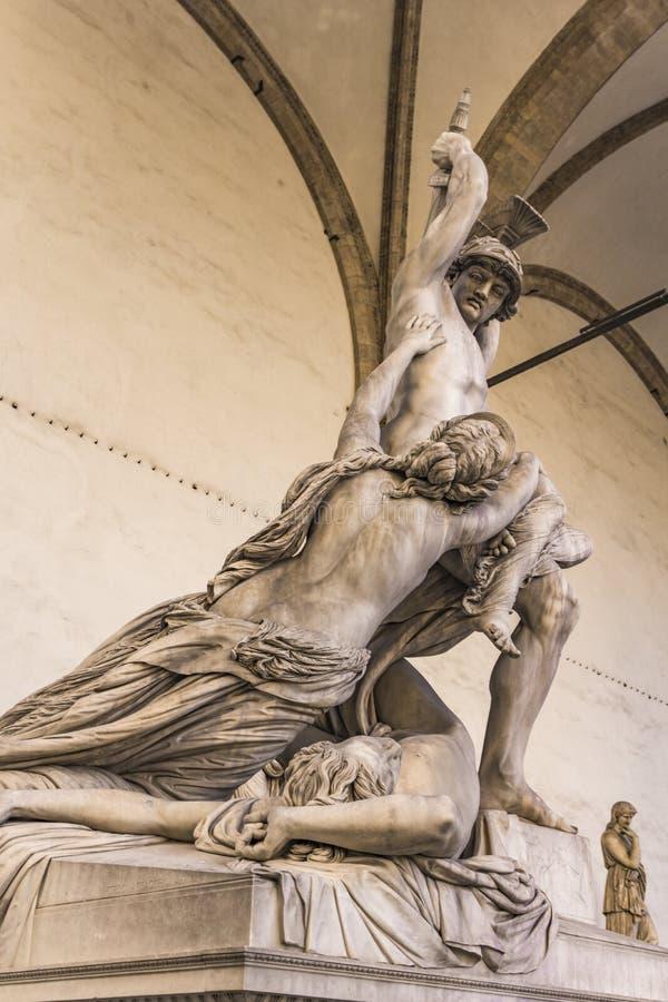 Statue Rape of Polyxena in Loggia dei Lanzi in Florence. Statue Rape of Polyxena made by Pio Fedi in 1865 in Loggia dei Lanzi in Florence, Italy stock photo