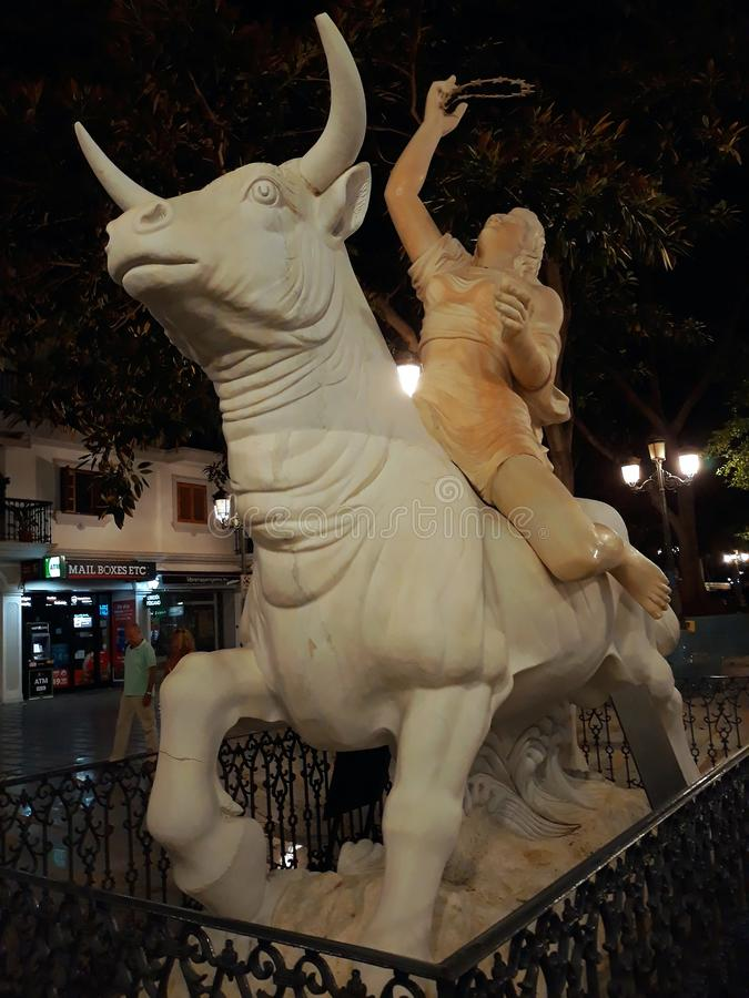Statue the Rapture of Europe in Torremolinos, Malaga. Andalusia. Spain. September 13, 2019 stock photos