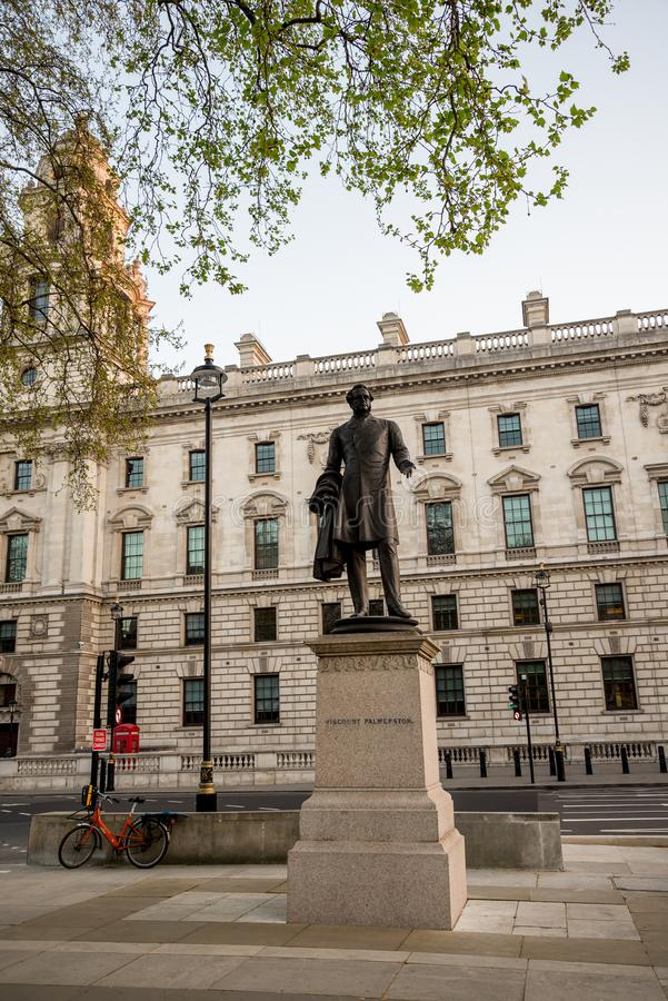 Statue of Lord Palmerston in Parliament Square Garden in Westminster, London. Statue of 3rd Viscount Palmerston in Parliament Square Garden in Westminster stock photo