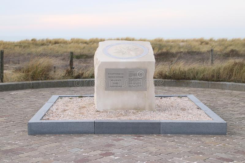Statue in rememberance of drowned soldiers since world war I at the coast of Noordwijk. Ships Aboukir, Cressy and Hogue sunk 50 ki stock image